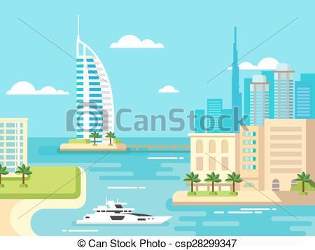 EPS Vector of Dubai City Beach Skyline.