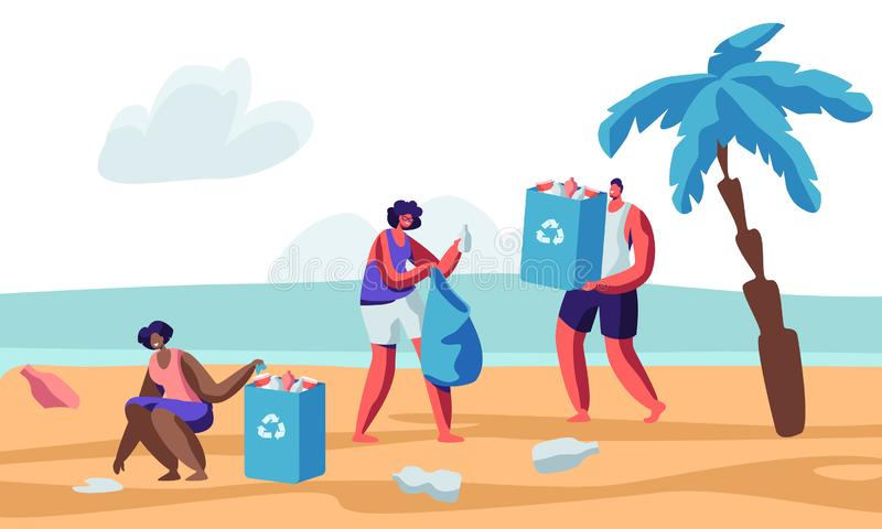 Beach Cleanup Stock Illustrations.