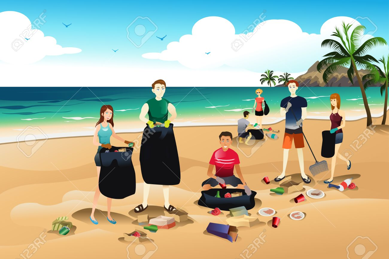 A vector illustration of volunteer cleaning up trash on the beach.