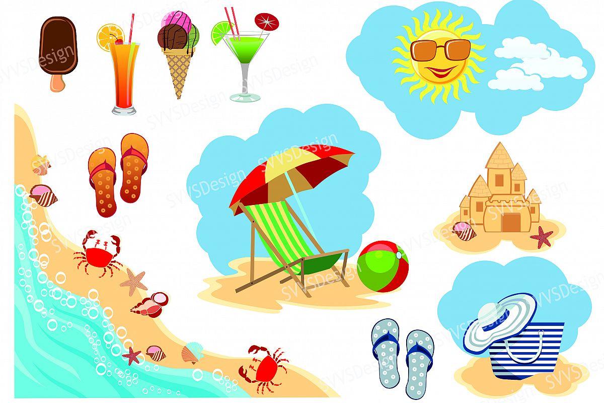 Summer Beach, Clipart, Vector, SVG, PNG . (vr).