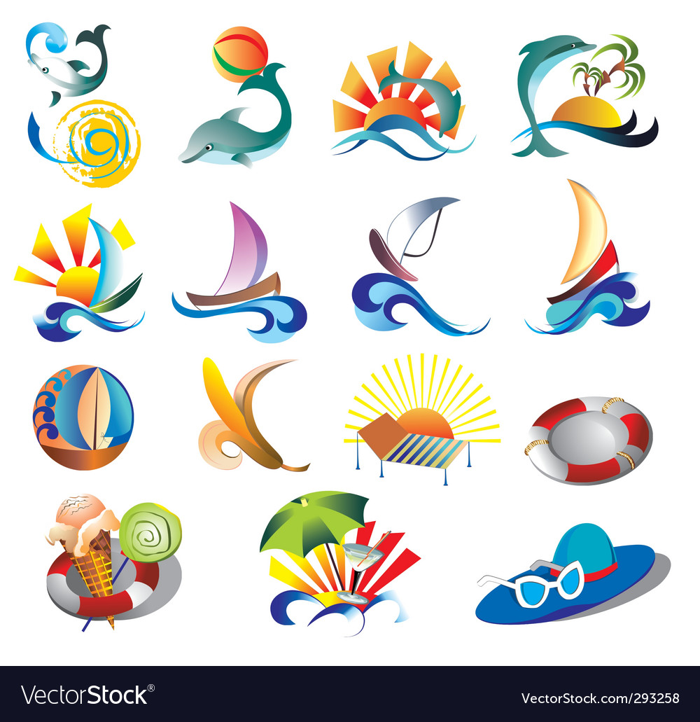 Summer beach travel clip art.