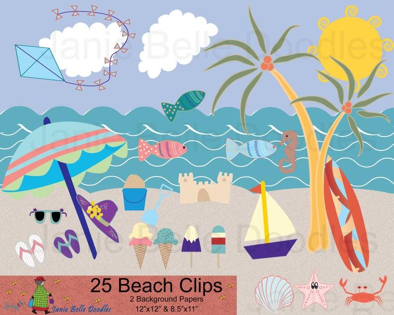 Beach ClipArt 25 Elements plus Background Paper 12