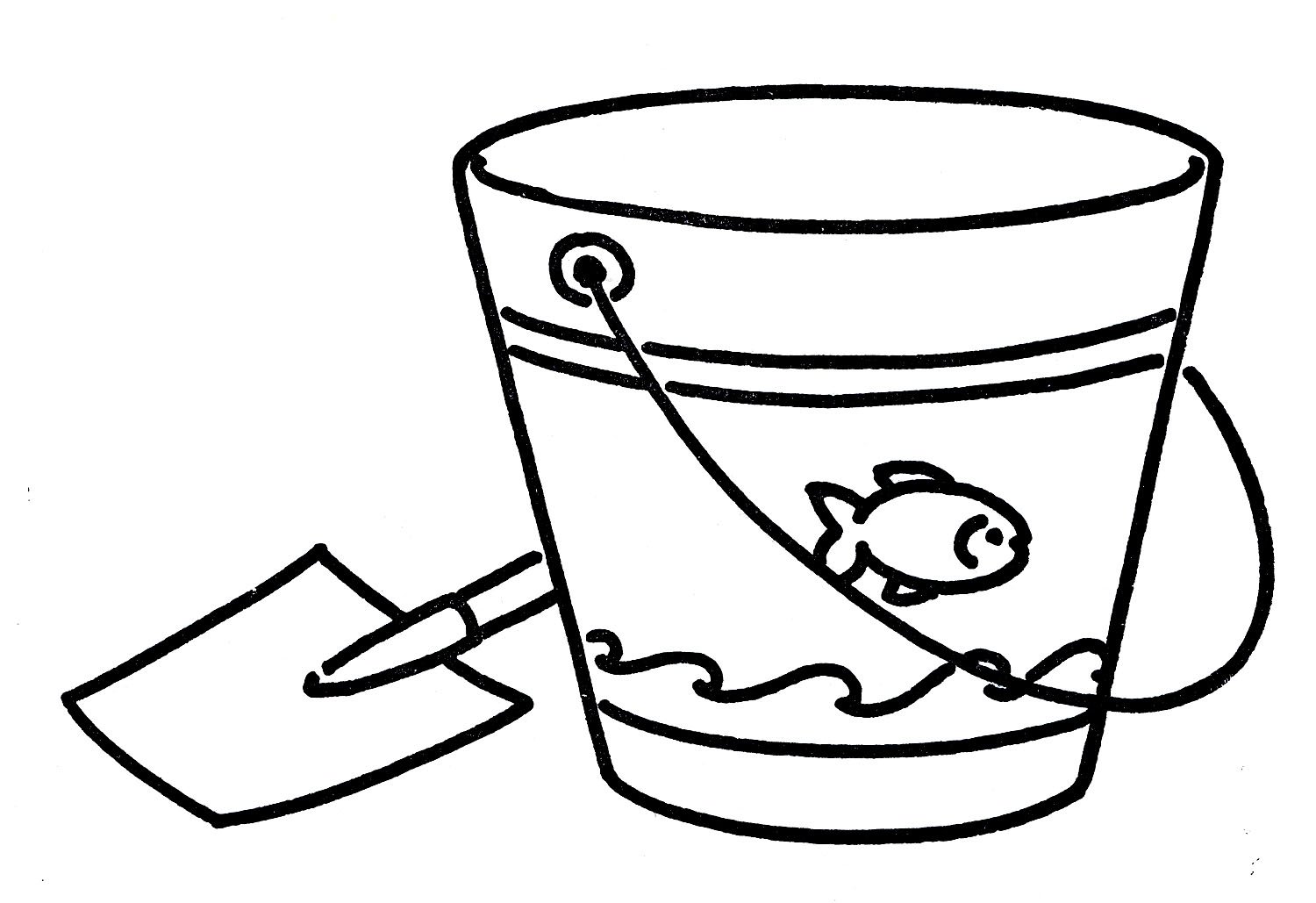Beach black and white sand bucket black and white clipart.