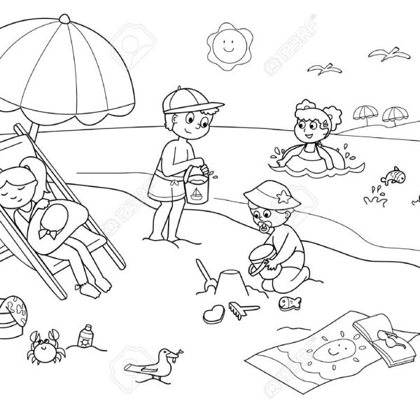 Children Playing With The Sand At The Beach. Cartoon Illustration.