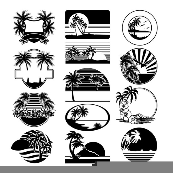 Beach Scene Clipart Black And White.