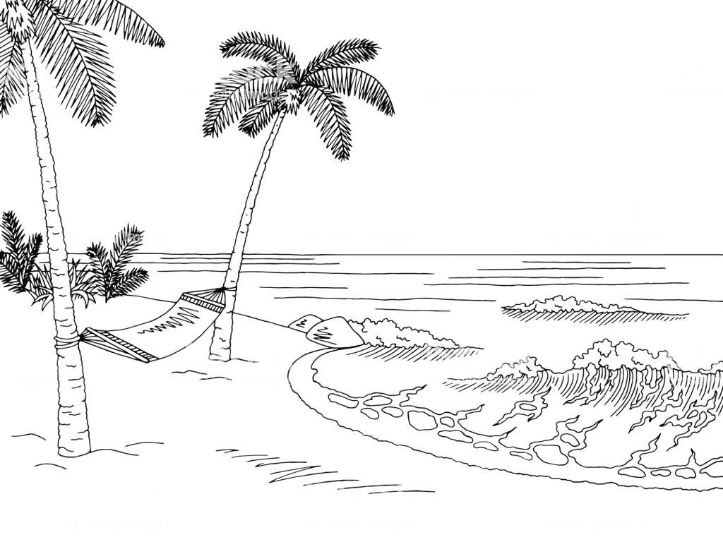 Beach clipart black and white 4 » Clipart Station.