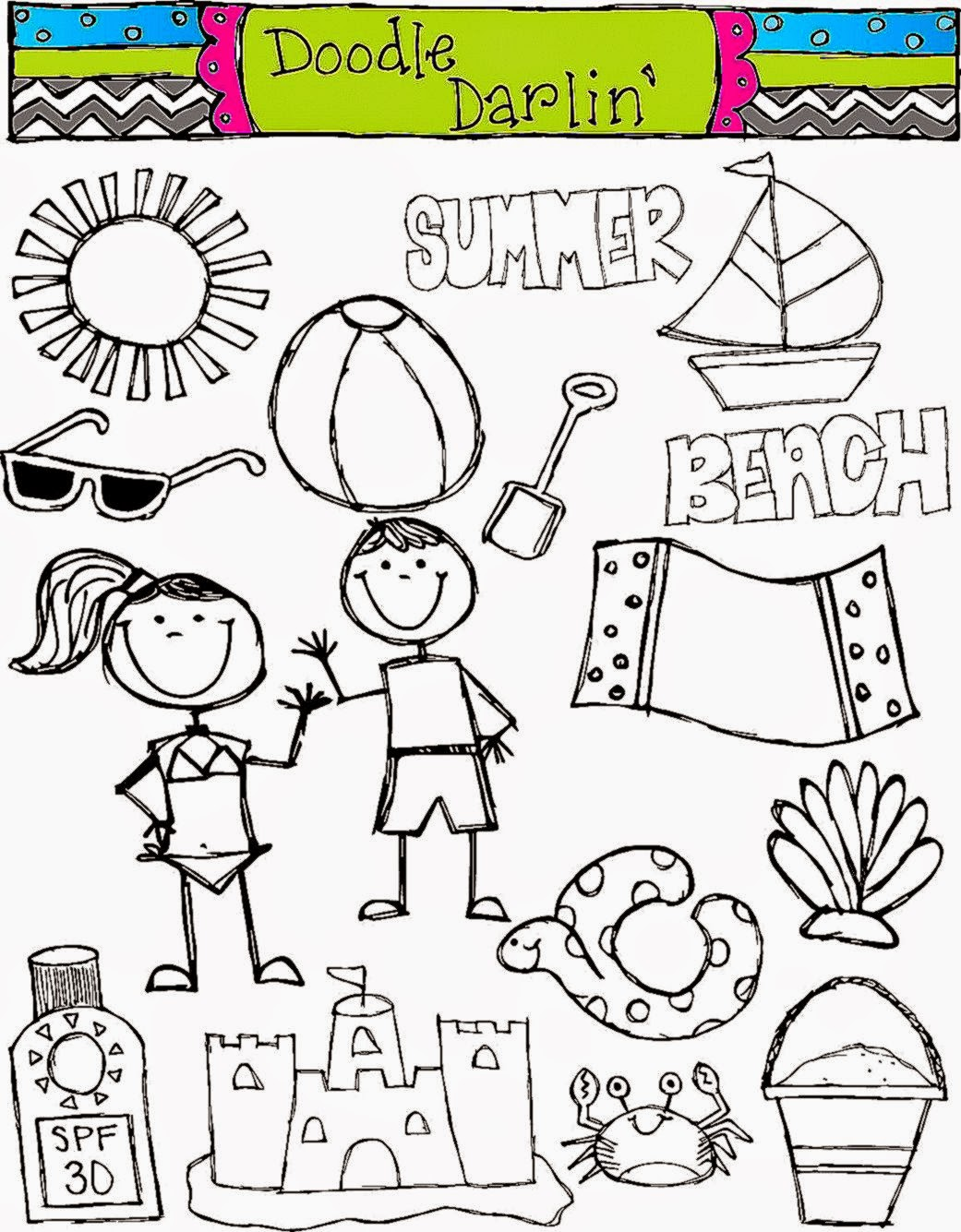 Kids At The Beach Clipart Black And White Background 1 HD.