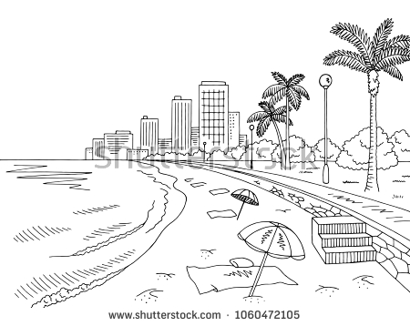 Beach Clipart Black And White (88+ images in Collection) Page 1.