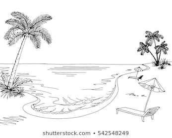 Beach clipart black and white 5 » Clipart Portal.