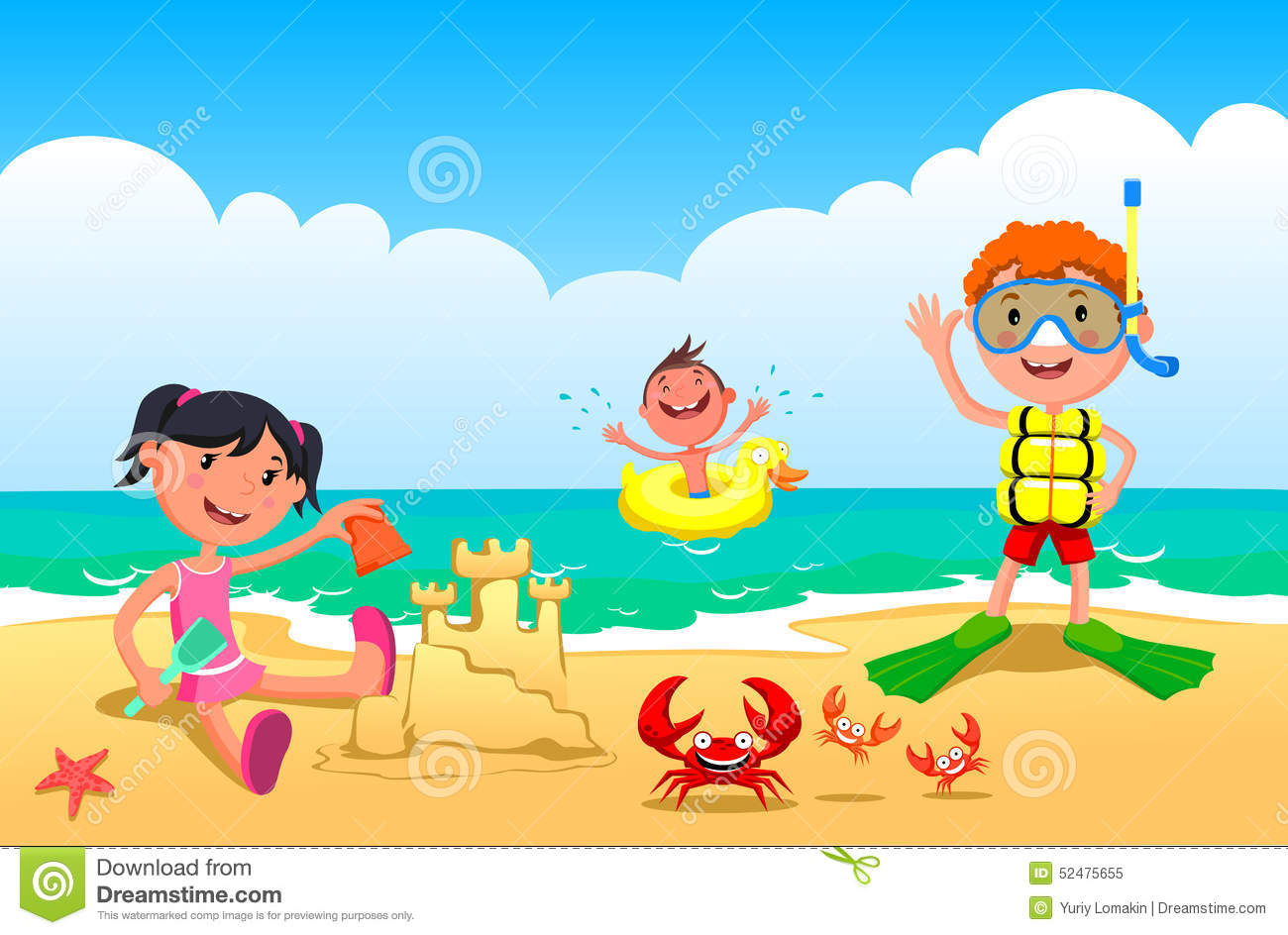 Children Playing In The Beach Clipart.