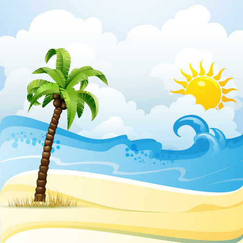 Tropical beach clipart free vector download 3.