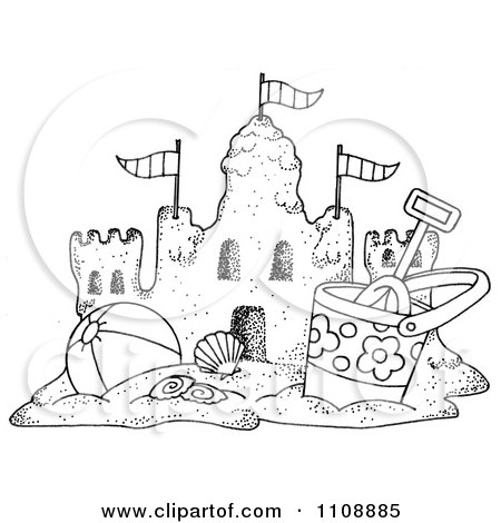 Clipart Black And White Beach Bucket And Ball By A Sand Castle.
