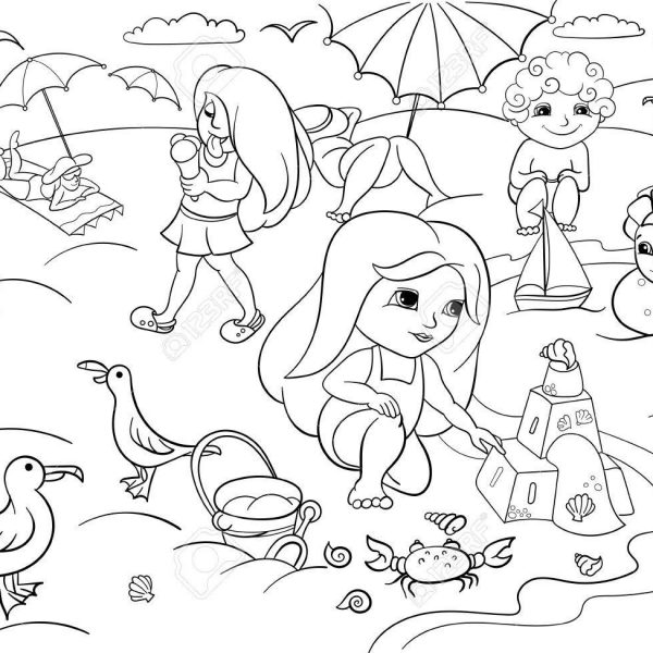 Children Swimming At The Beach And Play With Toys Royalty Free.