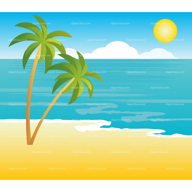 Beach clipart tropical landscape royalty free vector design.