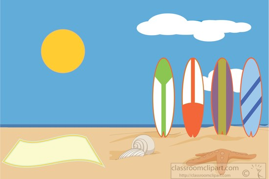 Surfboards lined up on sand at beach clipart » Clipart Station.
