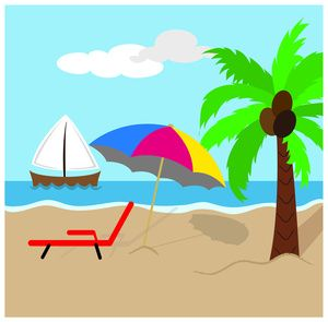 Beach Clipart Image: Tropical Island Scene with Coconut Palm.