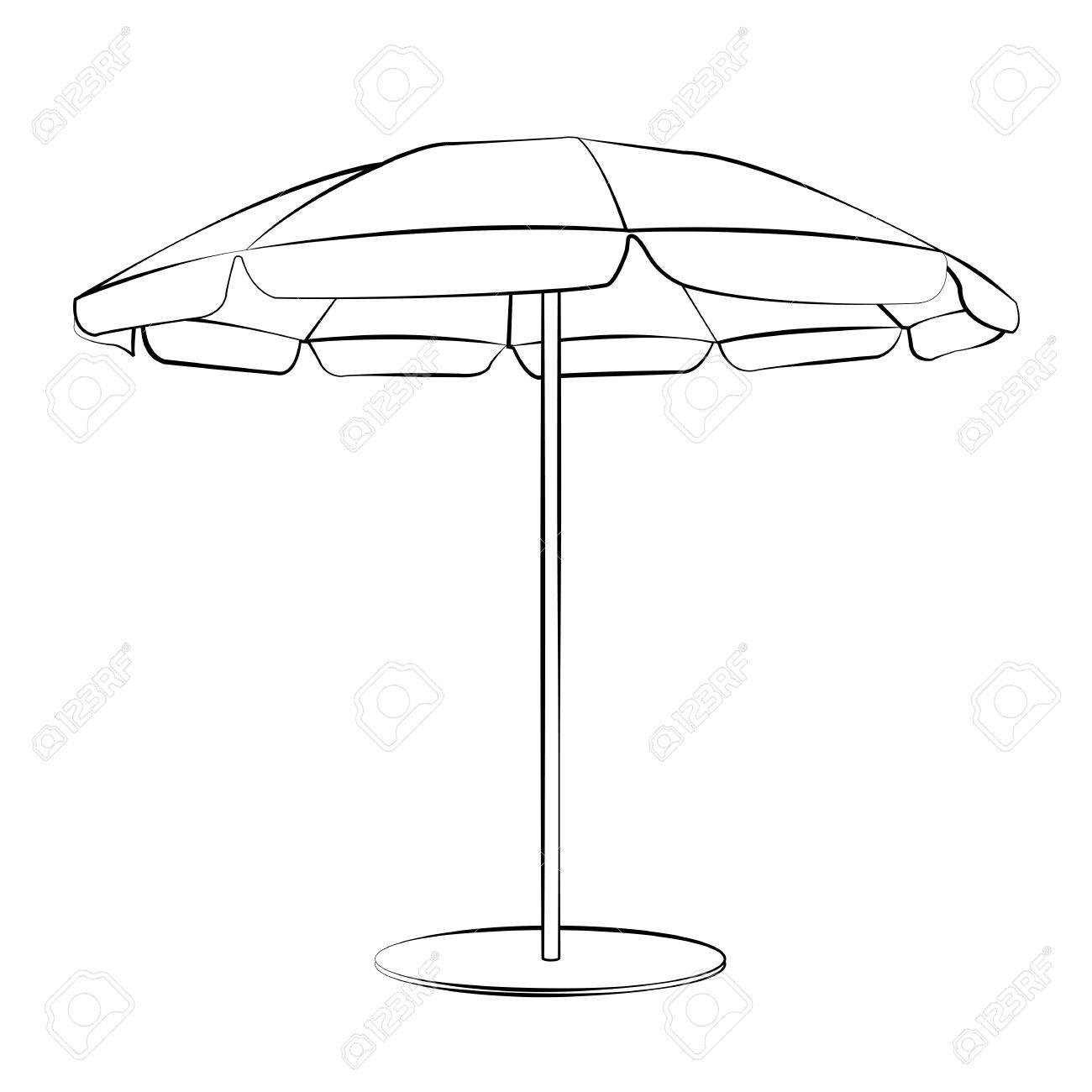 Beach Umbrella Outline Clipart.