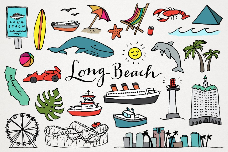 Long Beach Clipart Illustrations.