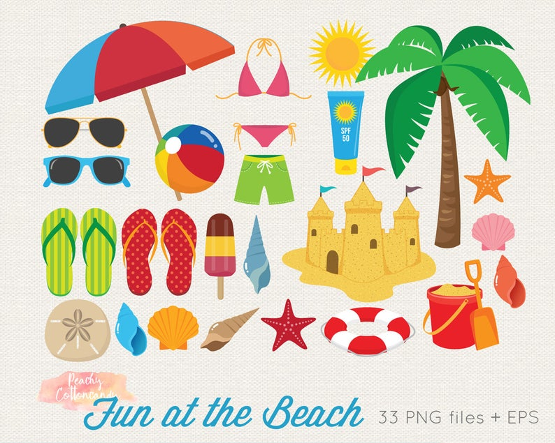 BUY 2 GET 1 FREE Beach Clipart.