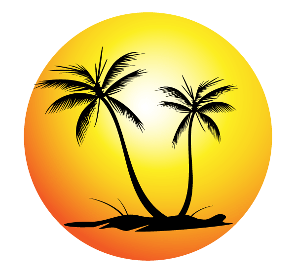 Free Tropical Beach with Palm Trees Vector Image.