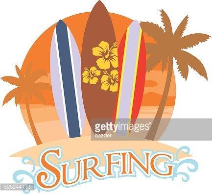 three surf board on a beach Clipart Image.