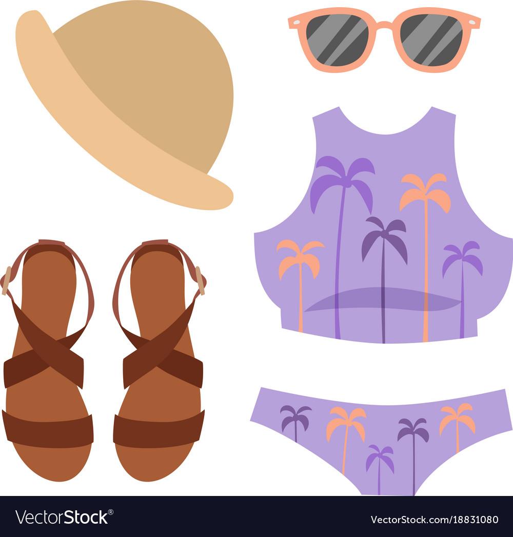 Beachwear bikini cloth fashion looks beach vector image on VectorStock.