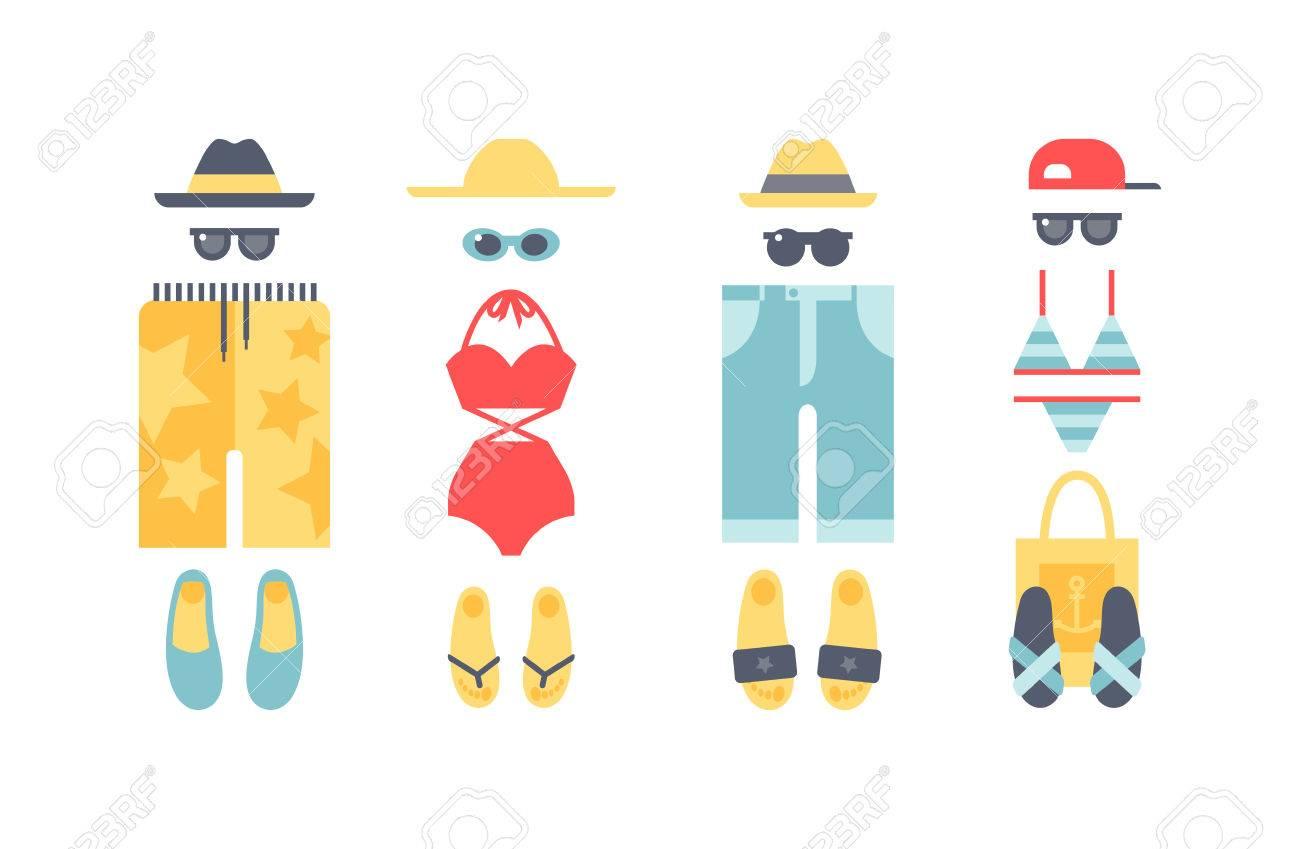 Big set of swimsuits beach swimwear clothing. Beachwear cloth...