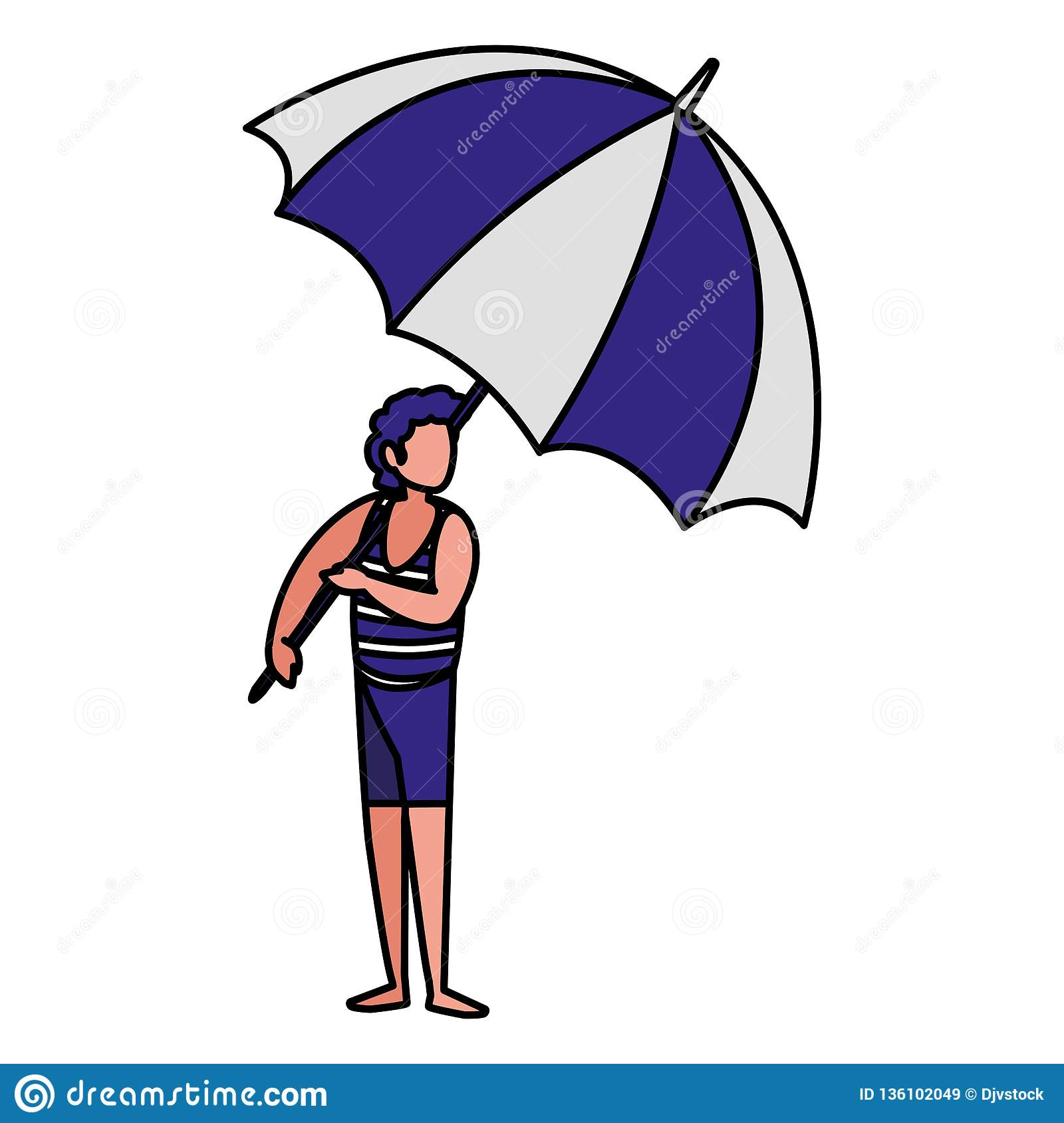 Man With Beach Clothes And Umbrella Stock Vector.