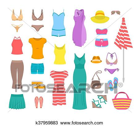 Women casual summer clothes and accessories flat icons Clipart.
