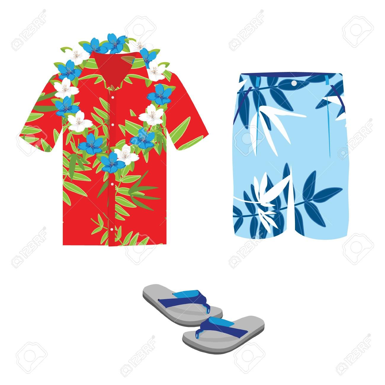 Hawaiian shirt, beach summer shorts, flower necklace and flip...
