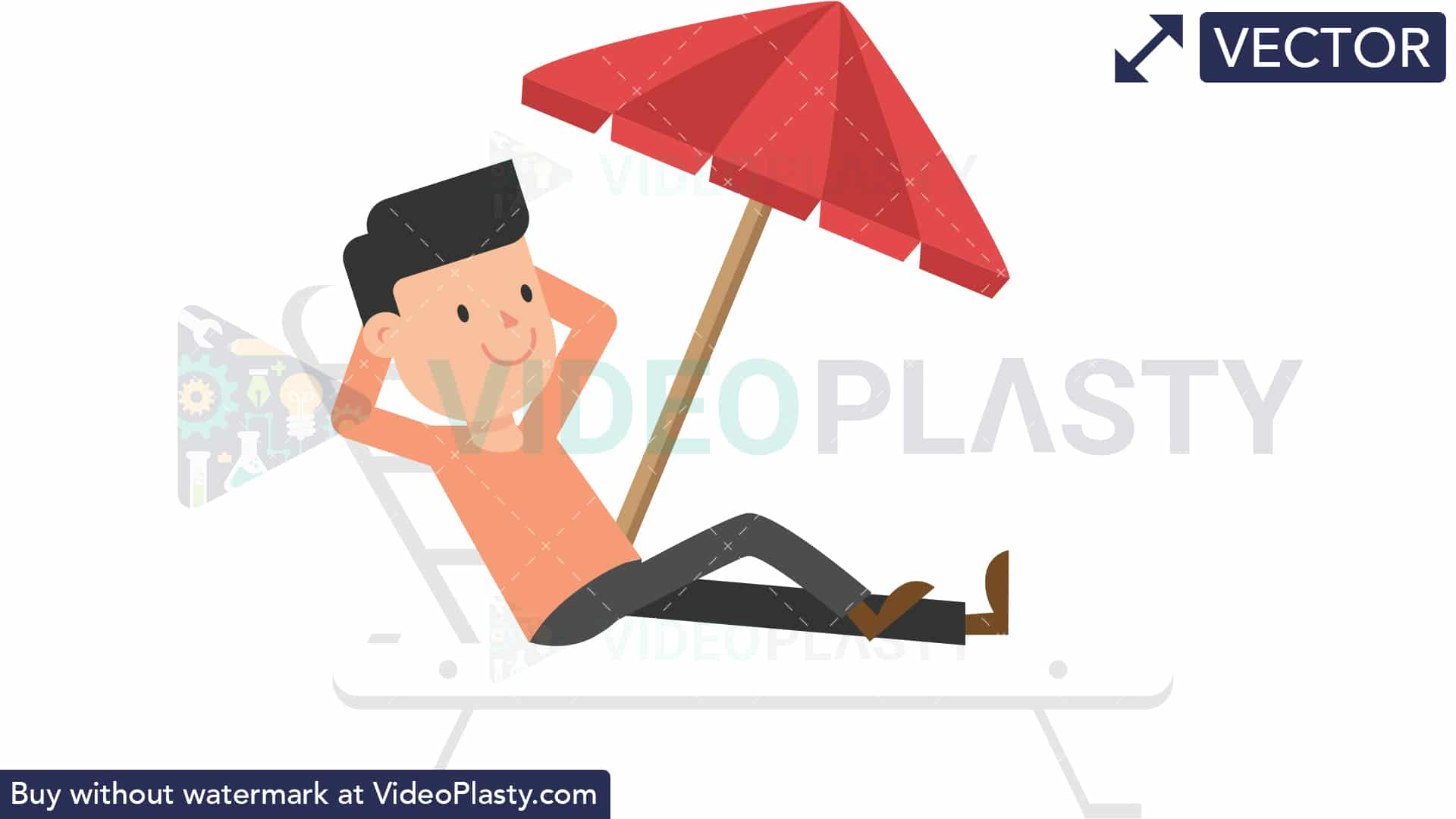 Man Relaxing on the Beach [VECTOR].