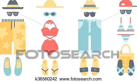 Beach swimwear clothing vector illustration. Clipart.