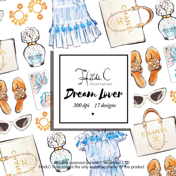 Clothing Clipart, Fashion Summer Clipart Beach Clip Art Planner Elegant  Clothes Chanel Clipart Collection Blogger Illustration Clothing Blue.