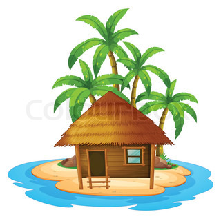 Illustration of a small nipa hut in the island on a white.