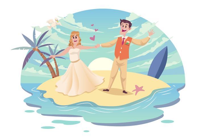 Beach Wedding Couple Vector.