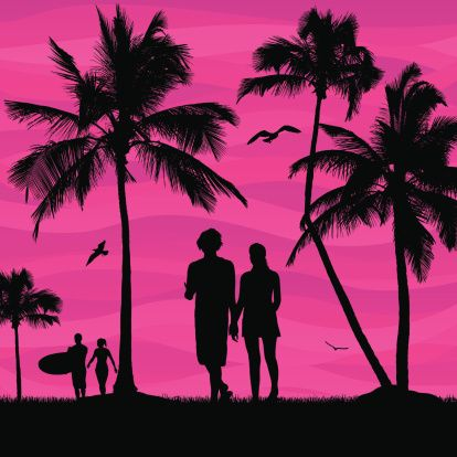 Silhouette Of Couple Walking And Holding Hands At Beach Clip.