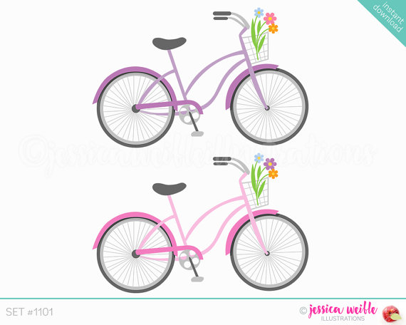 Instant Download Beach Cruiser Bicycle Cute Digital Clipart.