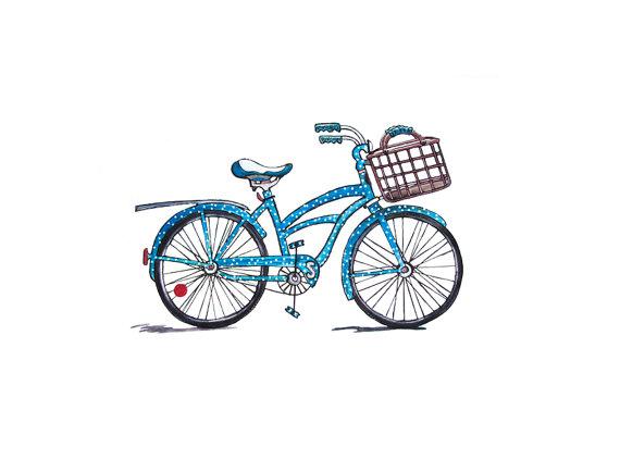 Beach Cruiser Bicycle Watercolor.