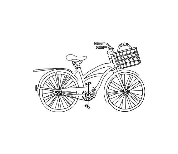 Beach Cruiser Bicycle Outline.