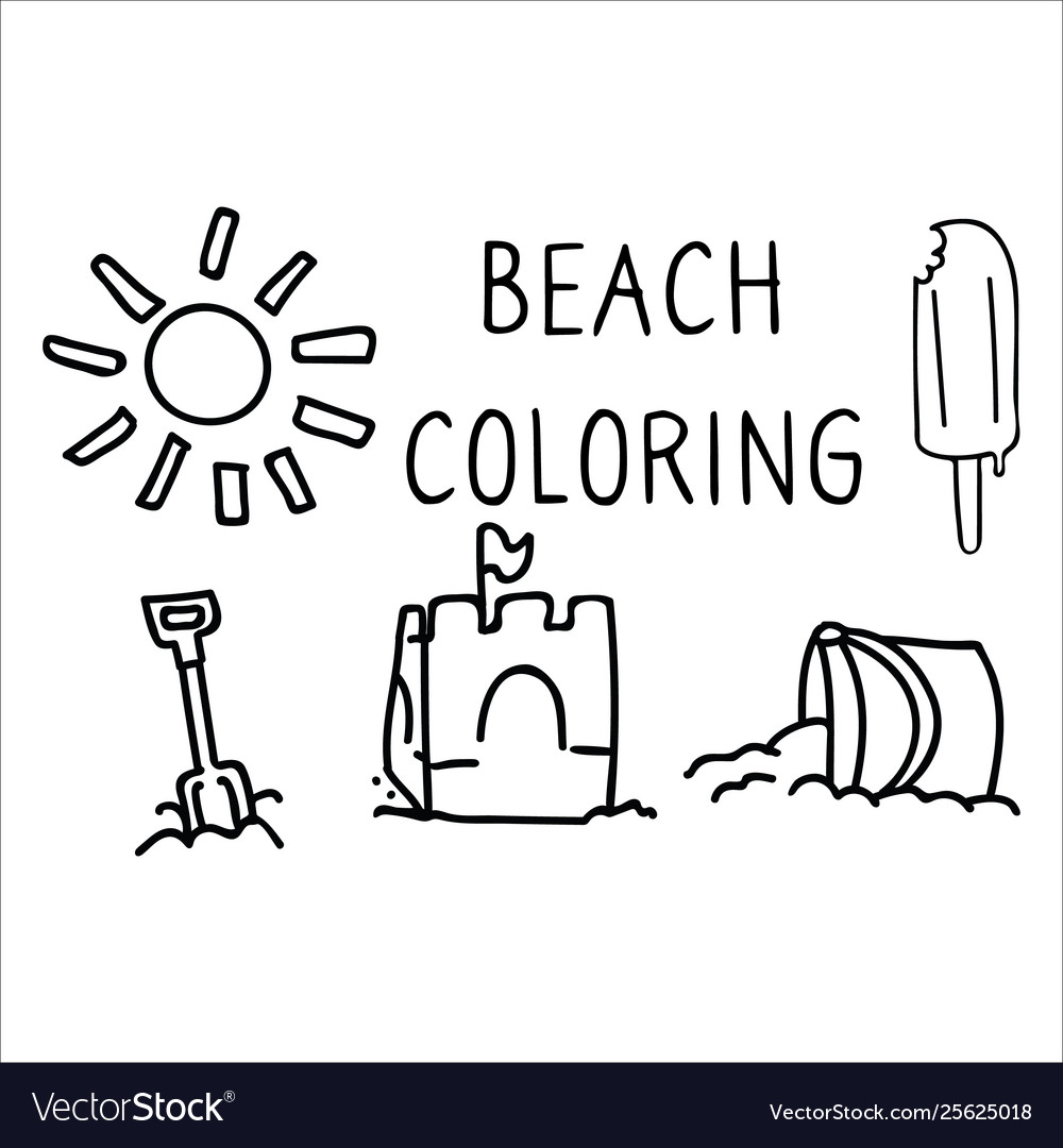 Cute summer beach day coloring page cartoon.