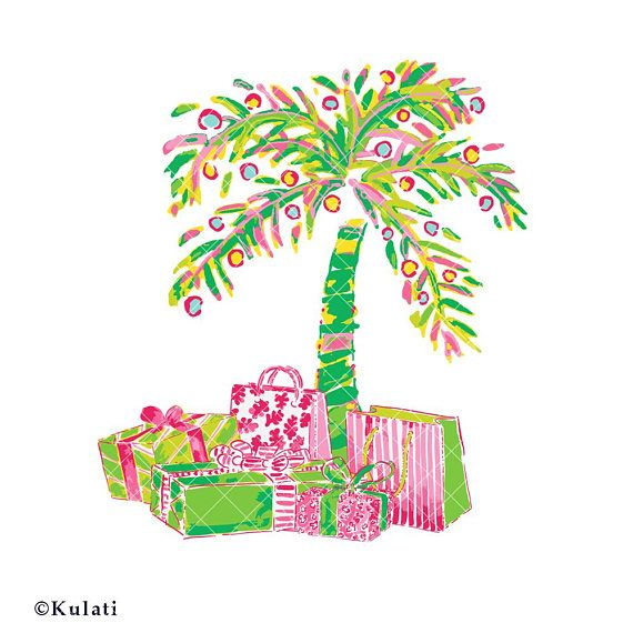 INSTANT DOWNLOAD preppy Christmas palm tree with presents.