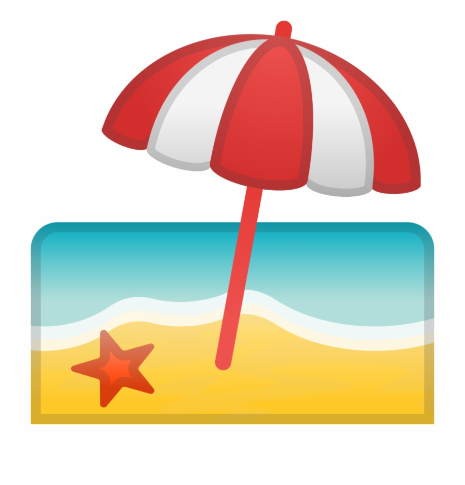 Beach With Umbrella Icon.