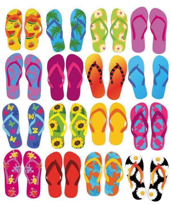 Colorful Flip Flops Vector Set.