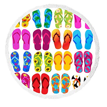 Amazon.com: LADAO Colorful Beach Flip Flops Print Round.