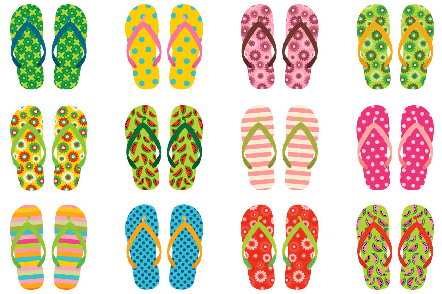 Cute flip flops clipart, Colorful flip flop clip art, Summer shoes.