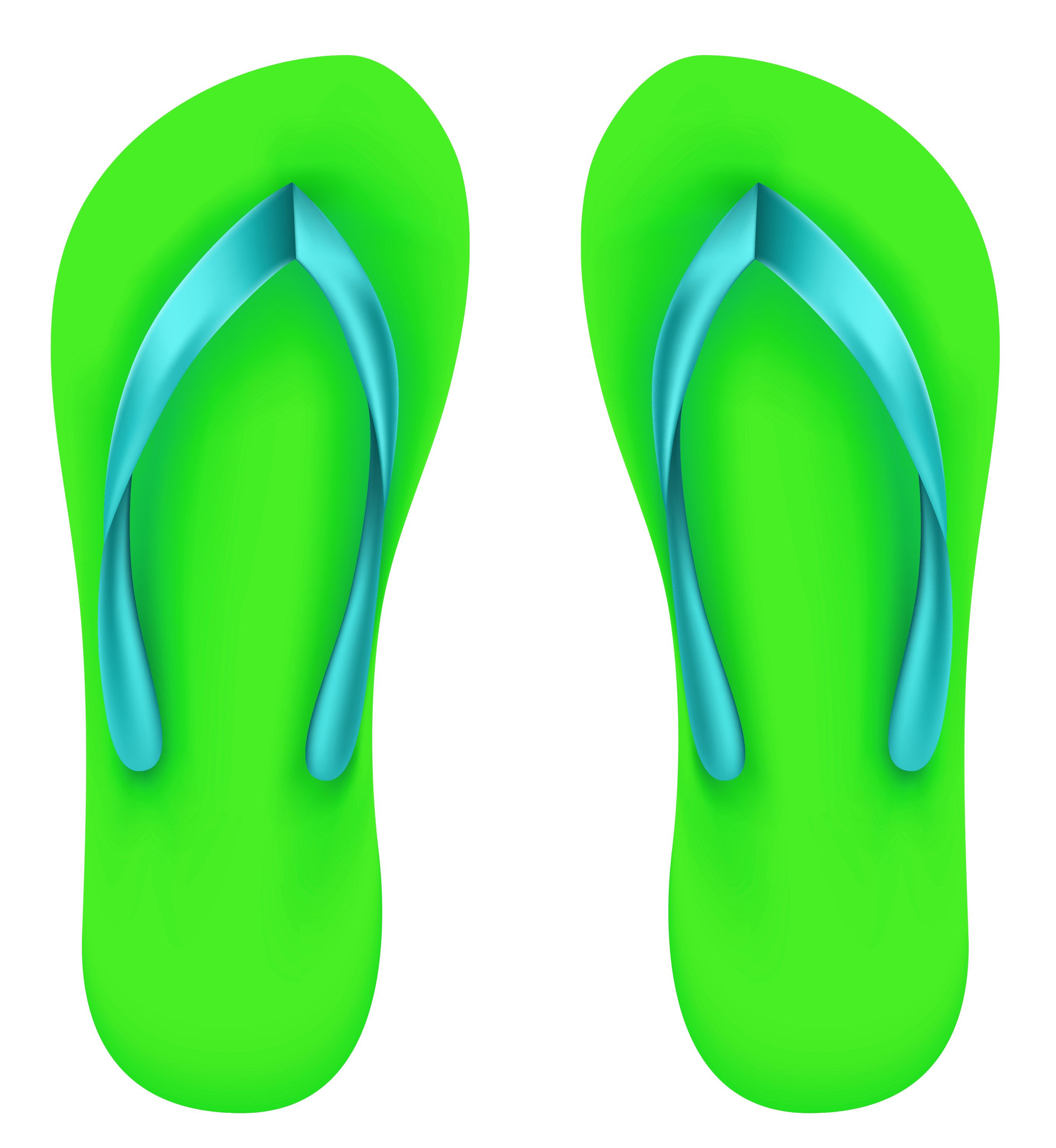 Green Beach Flip Flops PNG Clipart.