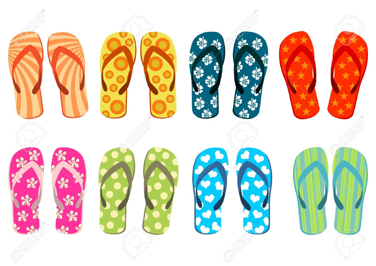 Flip flops on the beach clipart.