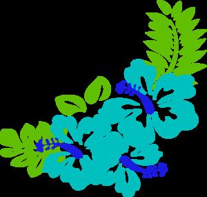 Blue Green Tropical Flowers Clip Art at Clker.com.