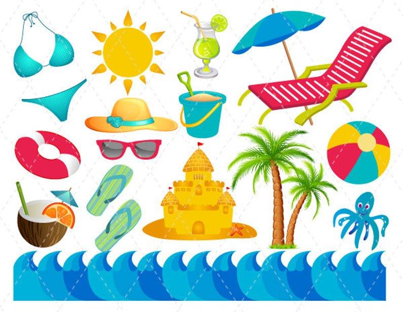 Digital Beach Vacation Clip Art Summer Fun Clipart Etsy Cool Quality.