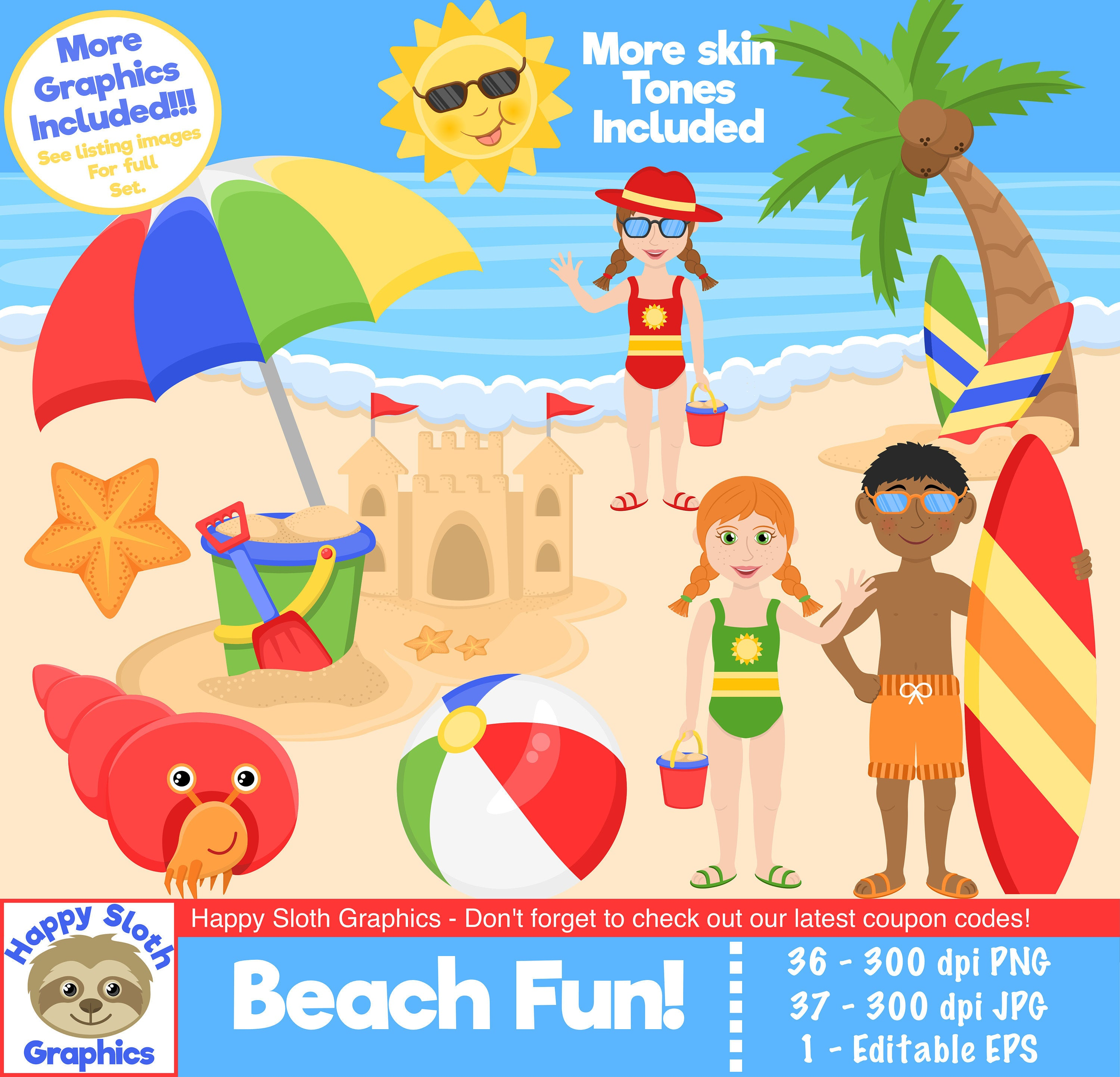 Beach Fun clipart set, personal and commercial use vector Seaside digital  clip art set..